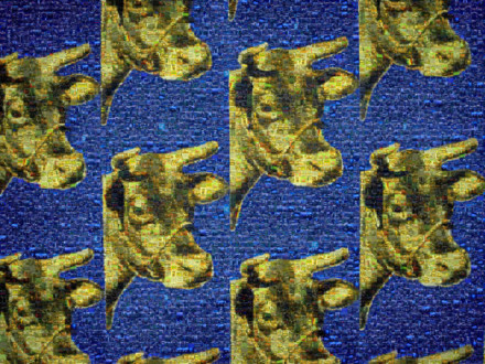 Cow Wallpaper Blue SM Mosaic